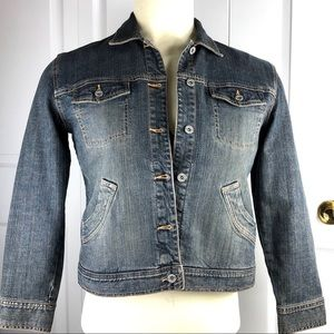Chico's Platinum Womens Jacket Blue Denim Stretchy